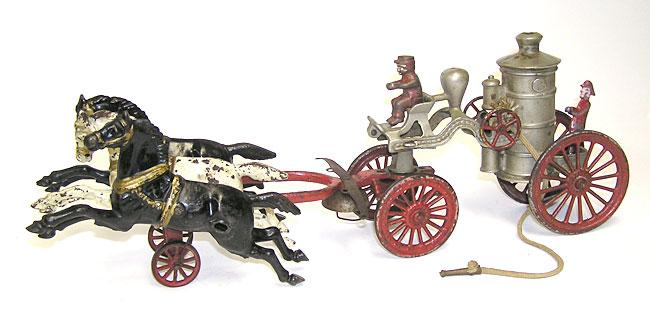 Hubley 3-Horse Drawn Fire Pumper Wagon 1800s