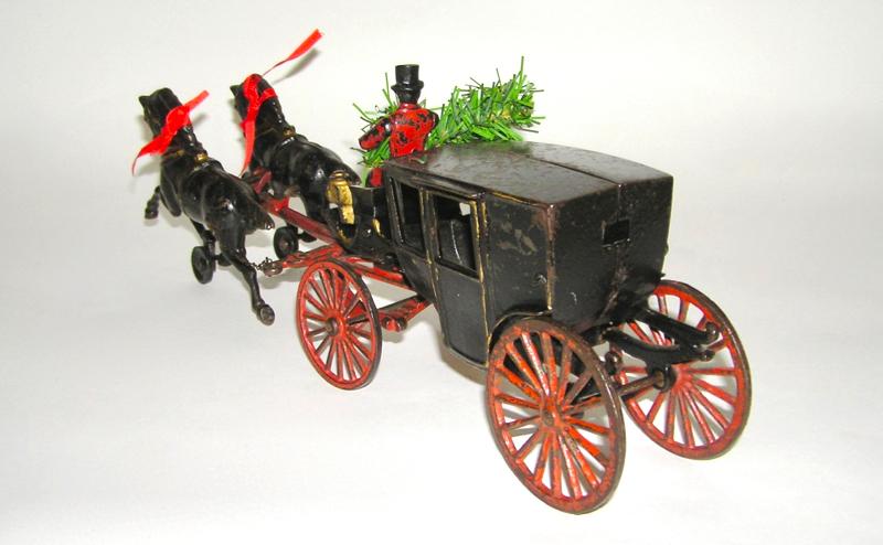 Rare Hubley Two-Horse Landau Cast Iron Late 1800s