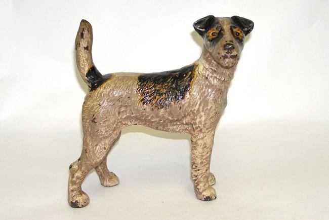 Hubley Cast Iron Fox Terrier Doorstop Early Version