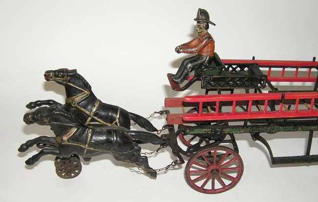 Rare Pratt & Letchworth Cast Iron Two Horse Fire Ladder Wagon 1800s