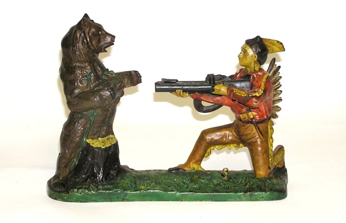Indian Shooting Bear Mechanical Bank